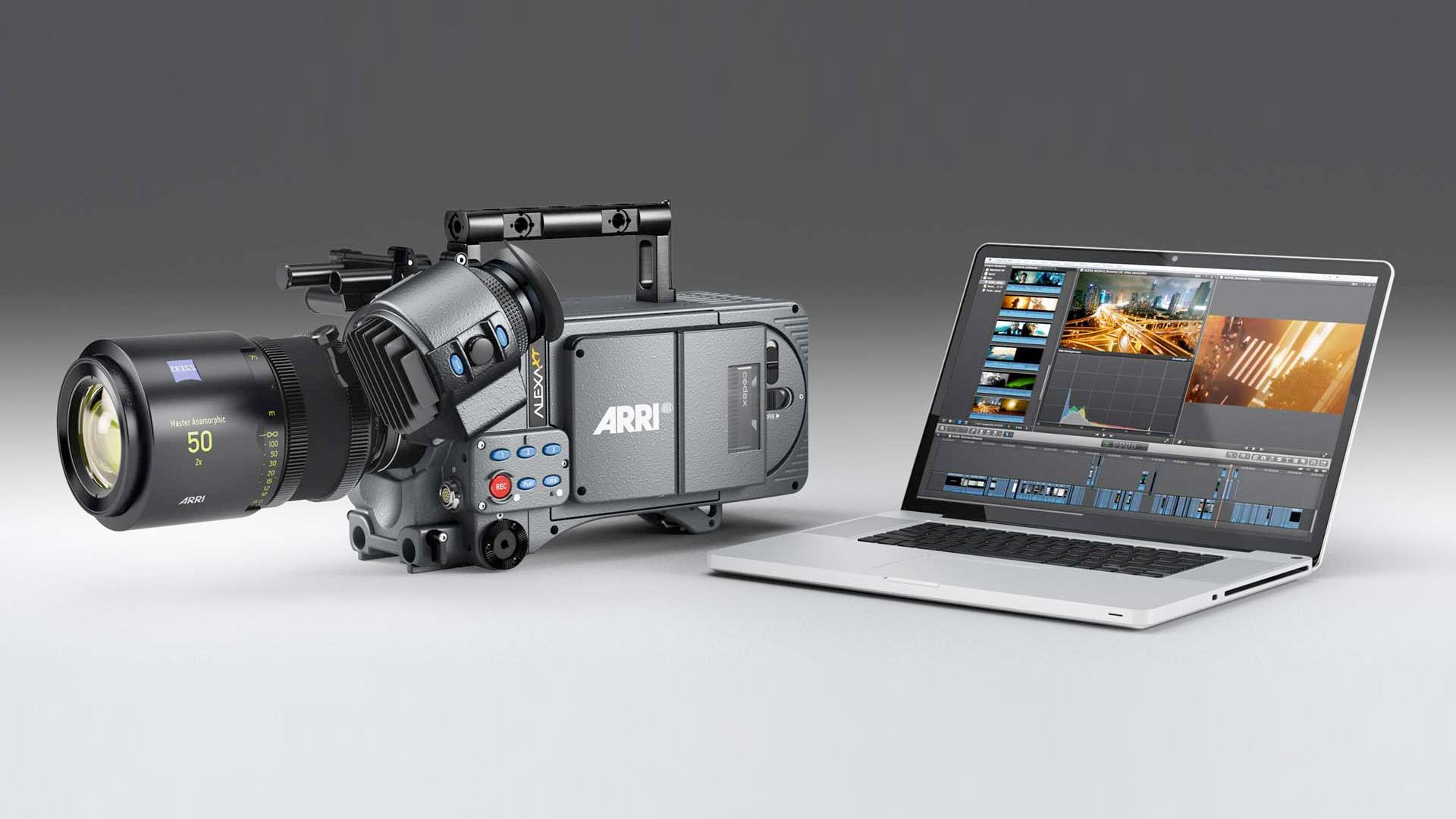 An Arri Alexa XT camera next to a laptop