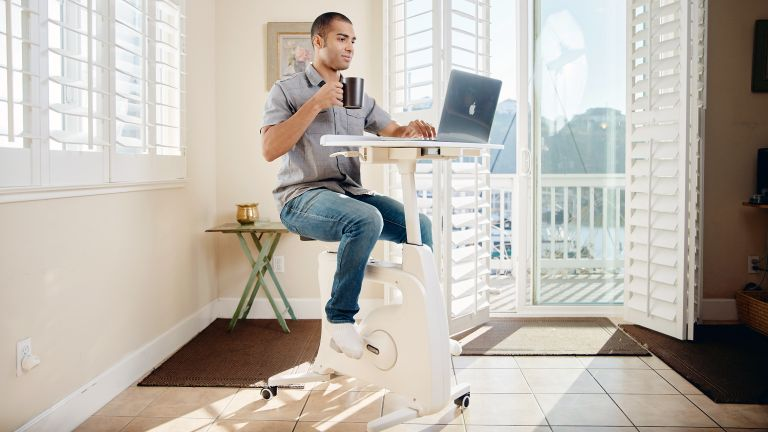 The Deskcise Pro is part exercise bike, part standing desk
