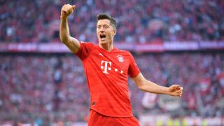 Robert Lewandowski of Bayern Munich after scoring on Union Berlin in October 2019.
