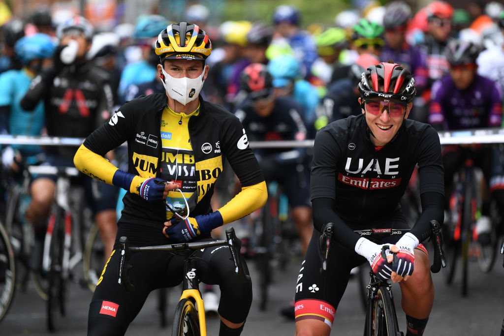 Primoz Roglic and Tadej Pogacar at the Itzulia Basque Country