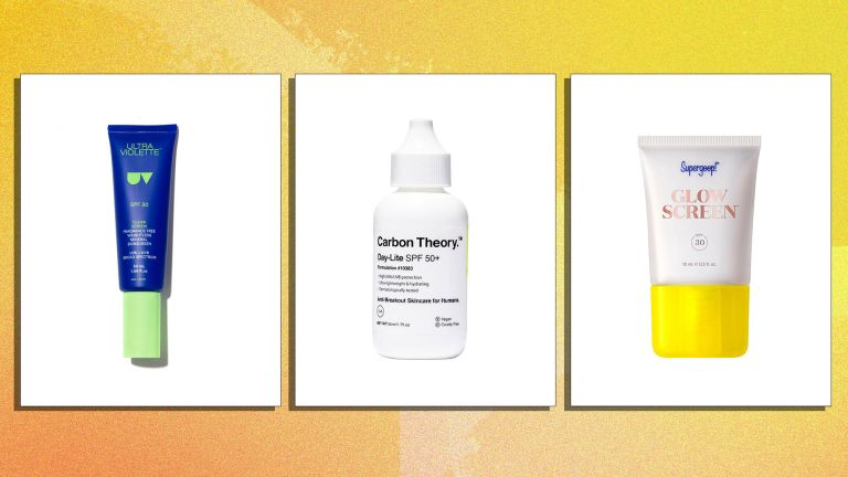A selection of the best sunscreen for face is pictured from left to right, Ultraviolette, Carbon Theory and Supergoop