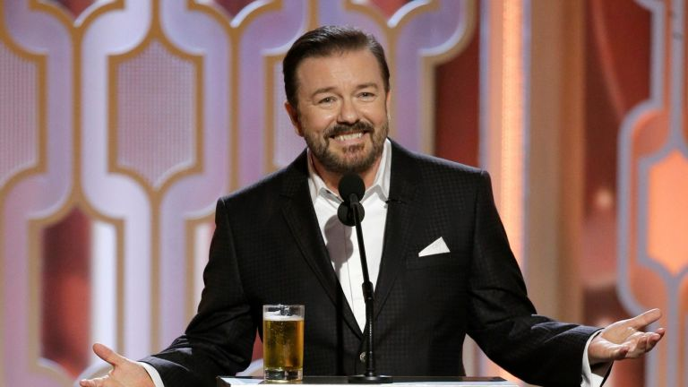 BEVERLY HILLS, CA - JANUARY 10: In this handout photo provided by NBCUniversal, Host Ricky Gervais speaks onstage during the 73rd Annual Golden Globe Awards at The Beverly Hilton Hotel on January 10, 2016 in Beverly Hills, California.
