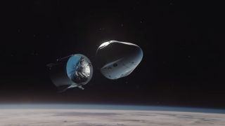 An animation showing SpaceX's Crew Dragon capsule, which is set to launch May 27, 2020.
