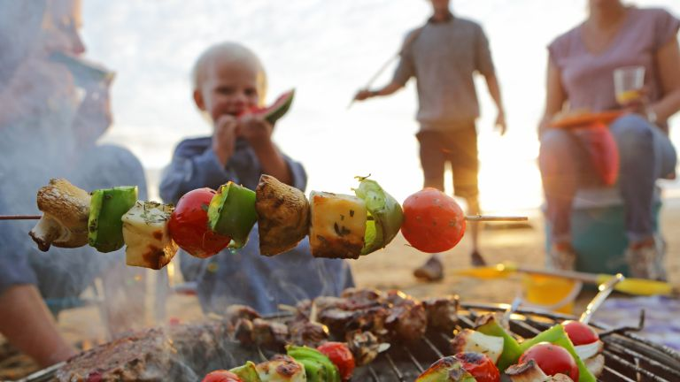 Vegetables grilling on a BBQ