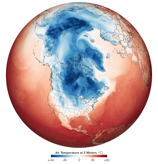 A map from NASA's Earth Observatory shows the southward spread of cold air from the arctic on Jan. 29.