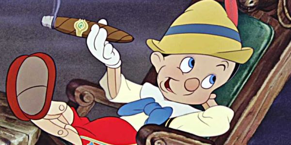 Pinocchio smoking a cigar at Pleasure Island