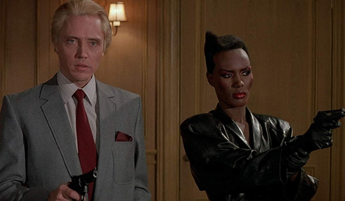 A View To A Kill Christopher Walken and Grace Jones threaten people with guns