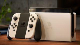 Nintendo Switch OLED White lifestyle shot