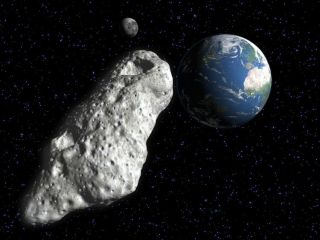 Artist's illustration of an asteroid flying near Earth.