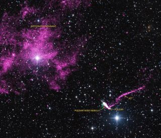 The runaway pulsar IGR J1104-6103 fires off the longest X-ray jet in the Milky Way Galaxy in this view taken by combining observations from NASA's Chandra X-ray Observatory (purple) and other radio and optical telescopes. The jet's tail extends across 37