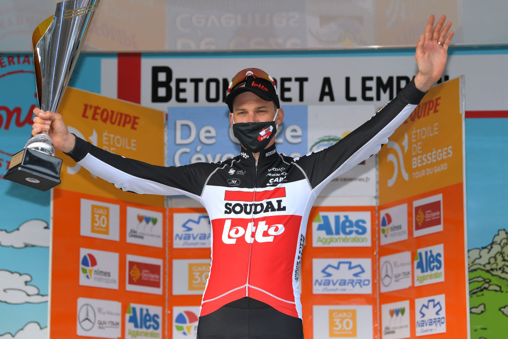BESSGES FRANCE FEBRUARY 05 Podium Tim Wellens of Belgium and Team Lotto Soudal celebrates during the 51st toile de Bessges Tour du Gard 2021 Stage 3 a 1548km stage from Bessges to Bessges Trophy Mask Covid Safety Measures EDB2020 on February 05 2021 in Bessges France Photo by Luc ClaessenGetty Images