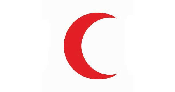Image of a red crescent on a white background