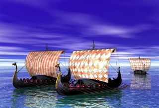 Viking ship sailing on the sea.