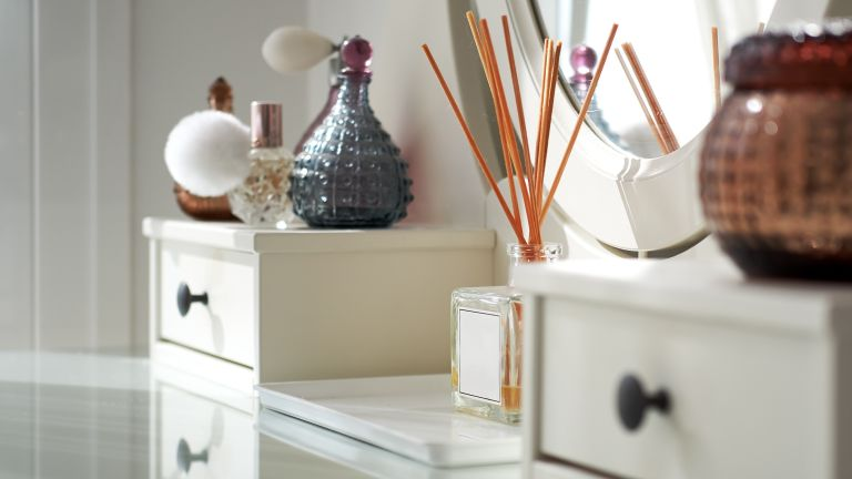 Reed diffuser on dressing table