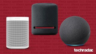 The Sonos One, Amazon Echo Studio and Amaozn Echo (2020) on a red background