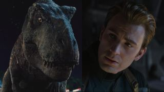 Roberta the Tyrannosaurus Rex from Jurassic World and Chris Evans from Avengers: Endgame, pictured side by side.