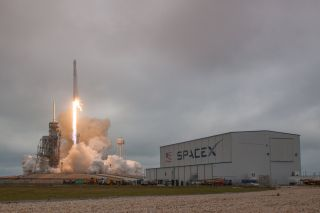 SpaceX's Falcon 9 and Dragon lift off from Launch Pad 39A at the Kennedy Space Center in Cape Canaveral, Florida.