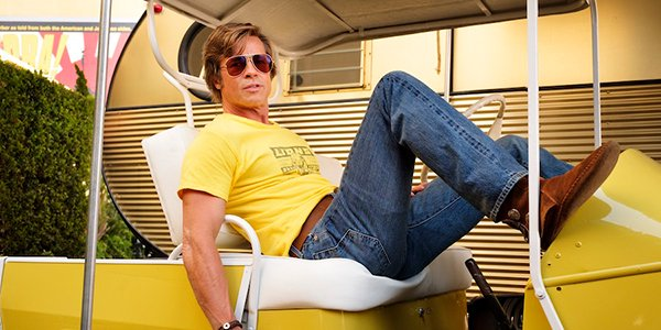 Brad Pitt lounging in Once Upon a Time in Hollywood