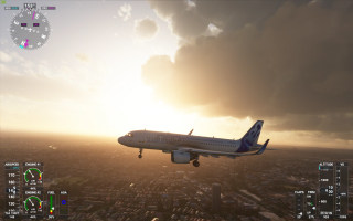 A large passenger Jet over a cityscape in Microsoft Flight Simulator.