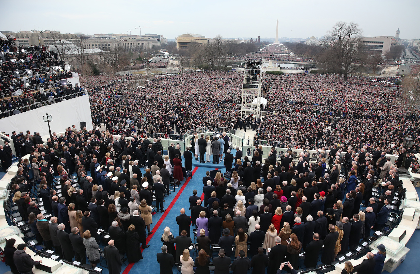 Aerial view of U.S. President-elect Donald Trump taking the oath of office during the 58th presidential inauguration in Washington, D.C., U.S., on Friday, Jan. 20, 2017.