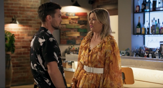 Amy Greenwood and Ned Willis in Neighbours.