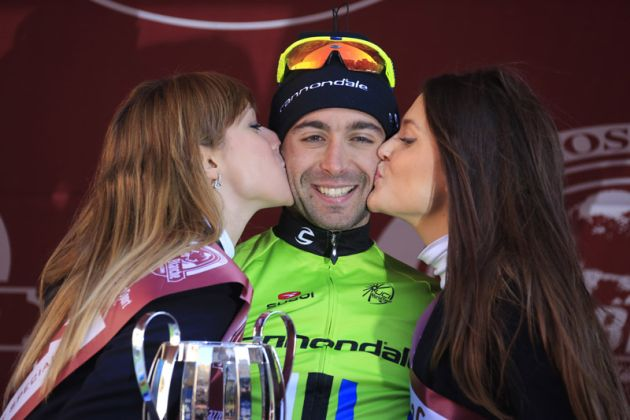 Moreno Moser on the podium, Strade Bianche 2013