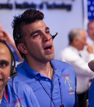 Bobak Ferdowsi, or the Mohawk Guy, on the night of the Curiosity rover's Mars landing