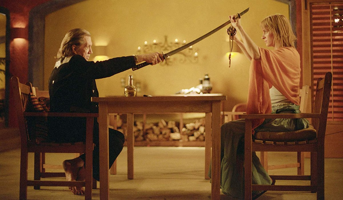 Kill Bill Vol. 2 Bill and The Bride fight in chairs at his house