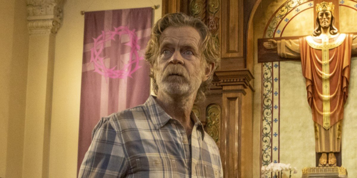 William H. Macy's frank gallagher in church on shameless