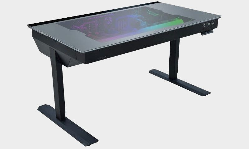 You can fit two liquid cooled PCs inside this motorized standing desk