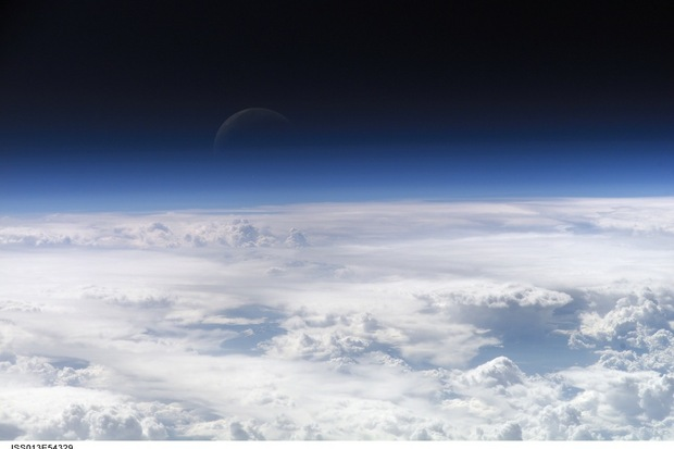 Earth's atmosphere as seen from a very high viewpoint