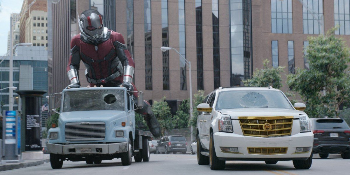 Ant-Man riding a truck