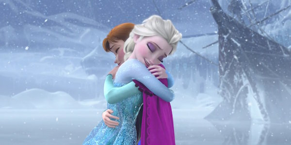 Elsa and Anna hugging in Frozen