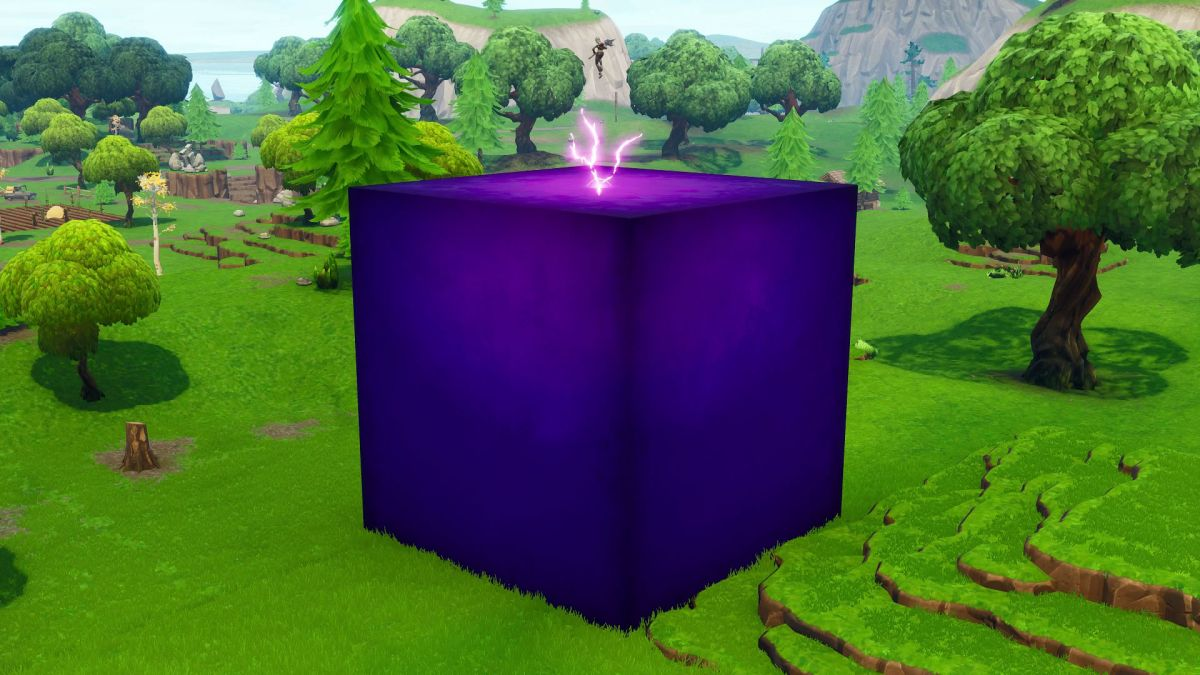 Fortnite S Giant Purple Cube Is Moving Around The Map And Smiting