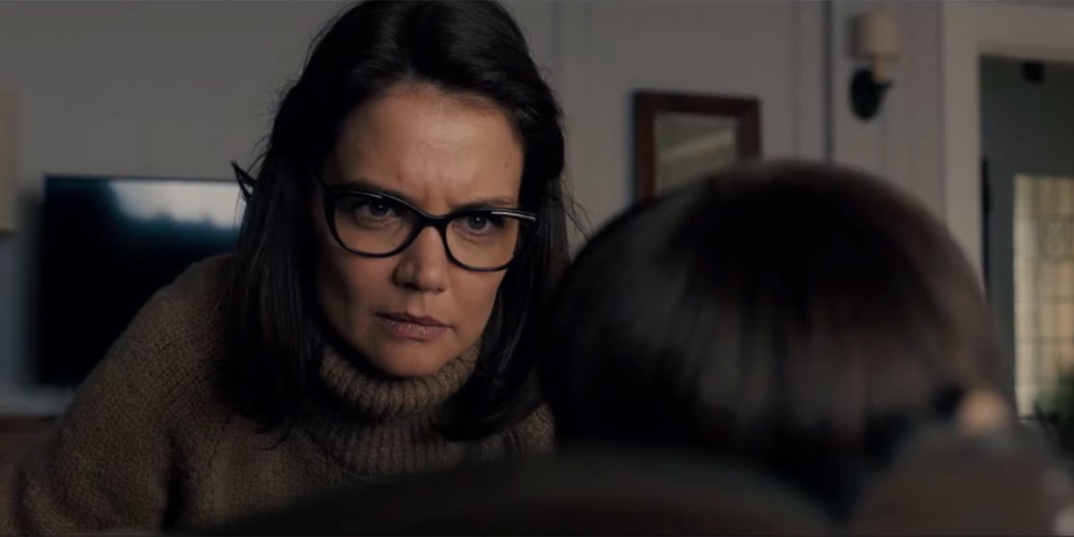 Katie Holmes staring down a doll in Brahms: The Boy 2