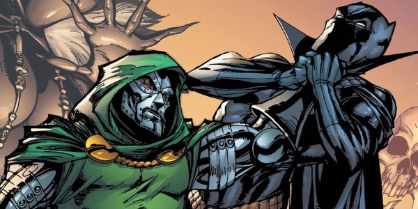 Black Panther taking on Doctor Doom in the Marvel comic book universe