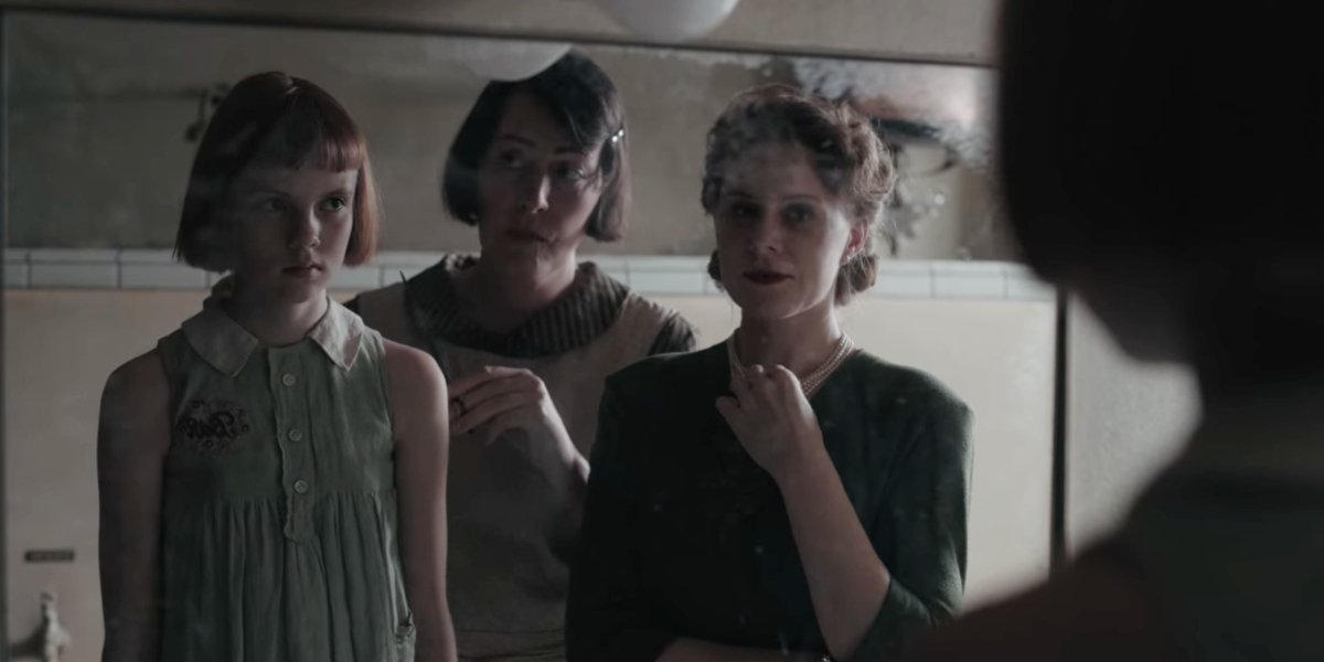 Isla Johnston, Rebecca Root, and Christiane Seidel in The Queen's Gambit