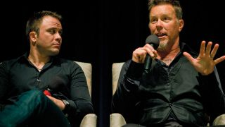 He seems comfortable with a mic… Justin Hunt and James Hetfield at a screening of Absent in San Rafael, California, in 2011
