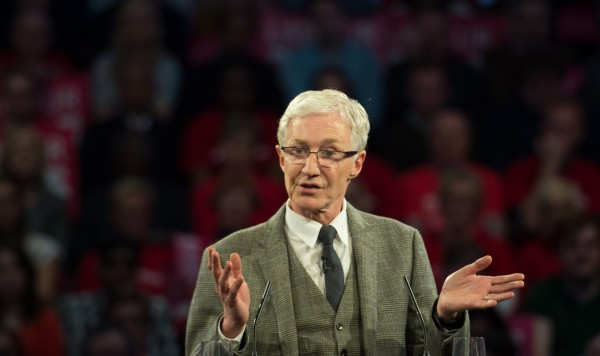 Paul O'Grady speaks at a Labour rally