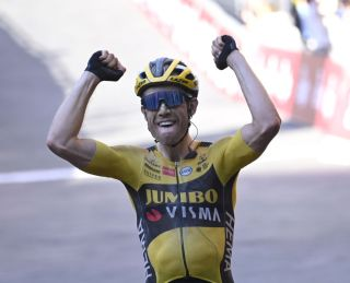 Belgian Wout Van Aert of Team JumboVisma celebrates as he wins the Strade Bianche one day cycling race 184km men from and to Siena Italy Saturday 01 August 2020BELGA PHOTO DIRK WAEM Photo by DIRK WAEMBELGA MAGAFP via Getty Images