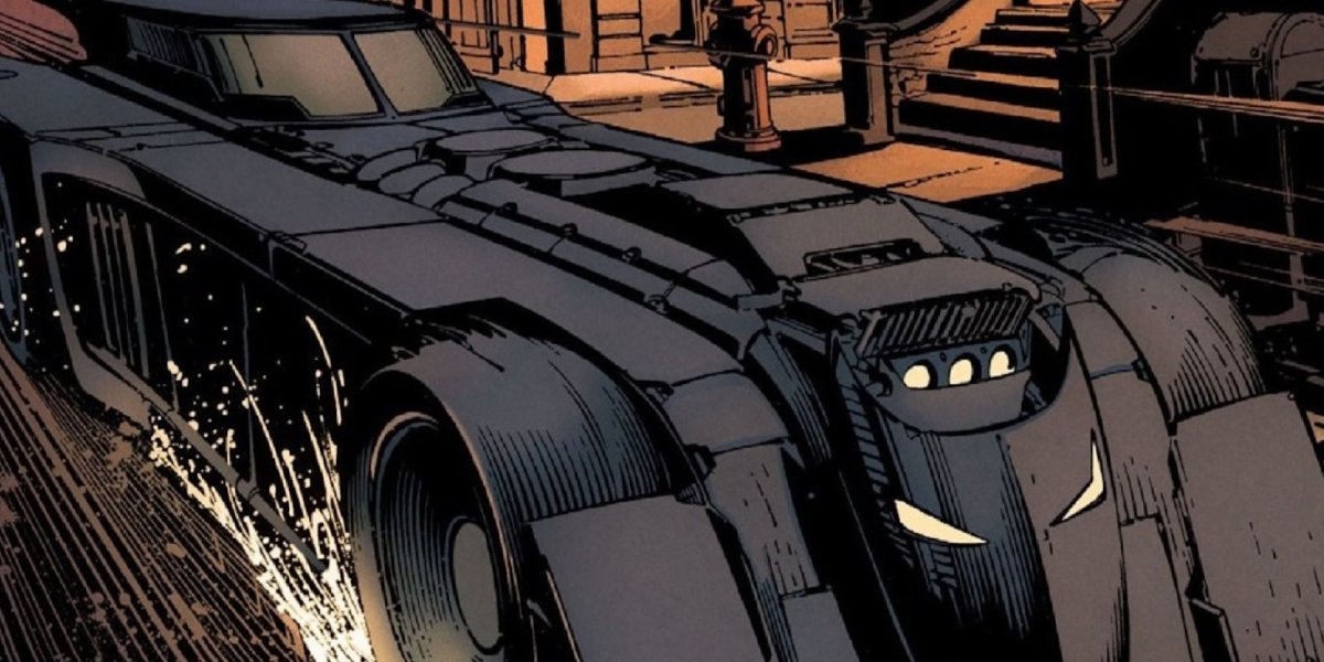 A modern incarnation of the Batmobile as depicted in the comics