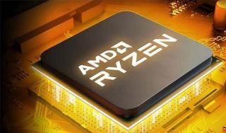 AMD RYZEN CHIP on a gold backdrop.