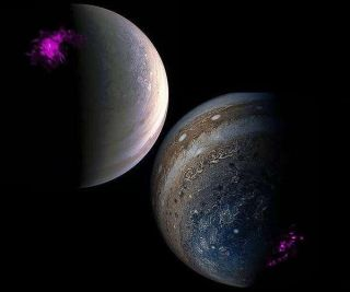 Overlaid images of Jupiter's pole from NASA's satellite Juno and NASA's Chandra X-ray telescope. Left shows a projection of Jupiter's Northern X-ray aurora (purple) overlaid on a visible Junocam image of the North Pole. Right shows the Southern counterpart.