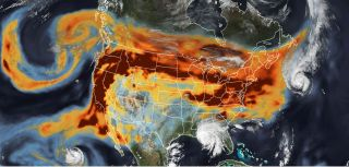 Wildfire smoke from California charges across the country, meeting hurricanes along the way.
