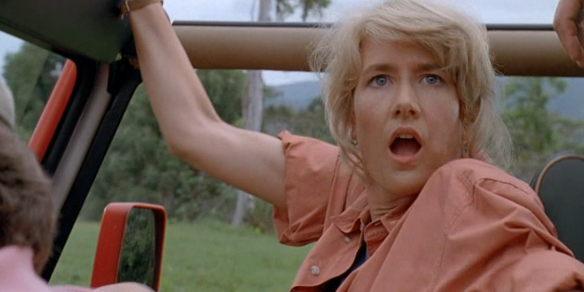 Ellie Sattler sees dinosaurs for the first time in Jurassic Park