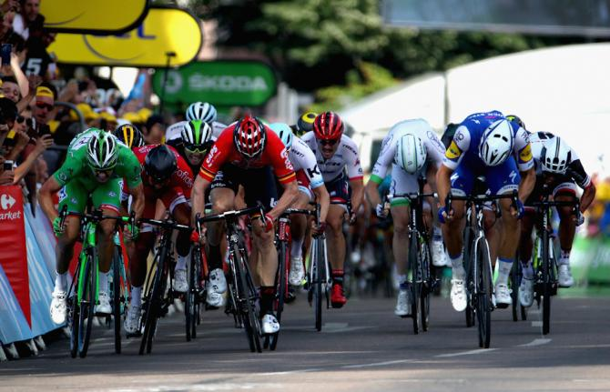 The sprinters approach the line during stage 6 at the Tour de France