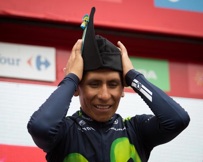 Nairo Quintana on the stage 10 podium at the Vuelta