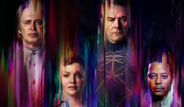 Philip K. Dick's Electric Dreams members of the cast bleeding into a colorful background