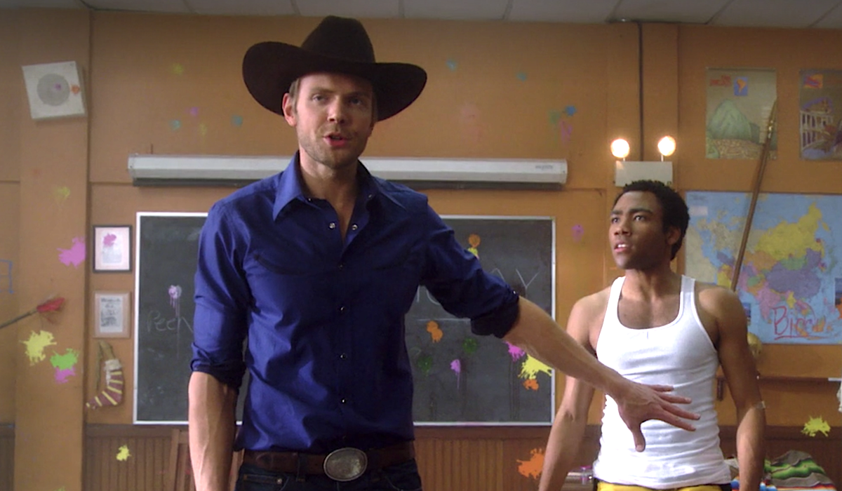 community jeff in a cowboy hat