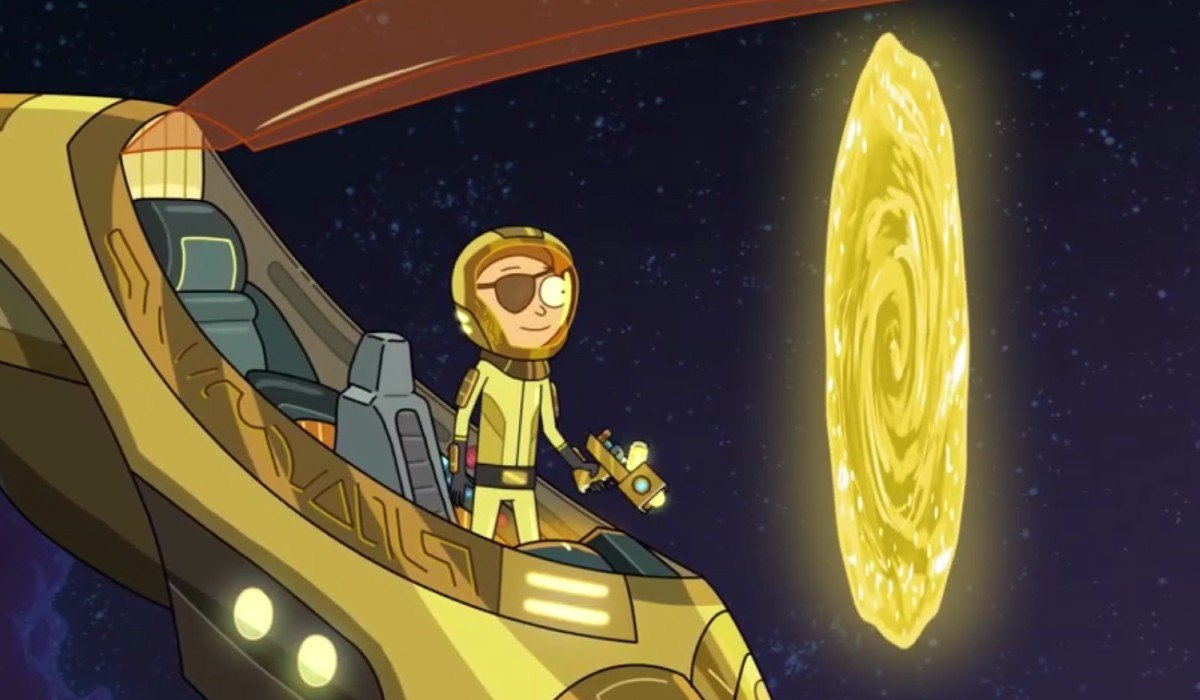 Evil Morty escaping into another dimension Adult Swim